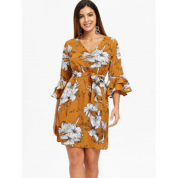 Layered Bell Sleeve V Neck Floral Dress - multicolor S