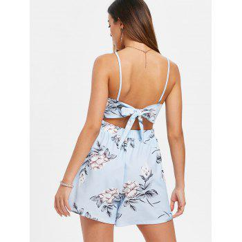Print Sleeveless Cut Out Romper - LIGHT BLUE XL