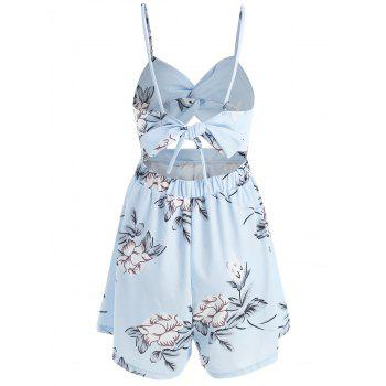 Print Sleeveless Cut Out Romper - LIGHT BLUE L