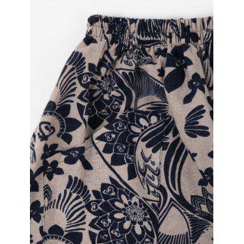 Retro Flower Print Casual Harem Pants - GRAY CLOUD ONE SIZE(FIT SIZE XS TO M)