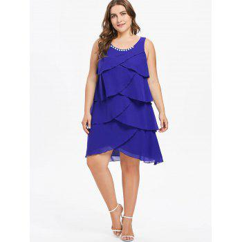 Plus Size Sleeveless Overlap Tiered Dress - BLUE L