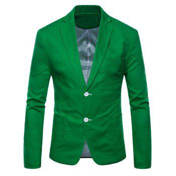 Lapel One Button Solid Color Blazer - GREEN APPLE S