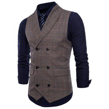 Turn Down Collar Check Casual Waistcoat - COFFEE XS