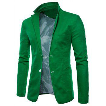 Lapel One Button Solid Color Blazer - GREEN APPLE M