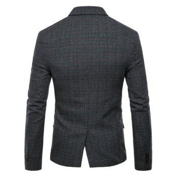 Check Lapel Edging Blazer - DARK GRAY XS