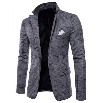 Check Lapel Edging Casual Blazer - GRAY XS