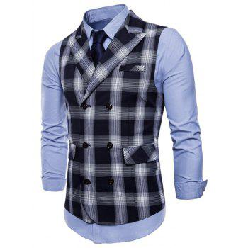 Check Double Breasted Edging Waistcoat - BLACK XS