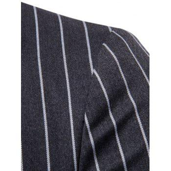 Stripe Edging Lapel Collar Blazer - DARK GRAY XS