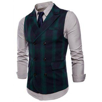 Check Double Breasted Edging Waistcoat - DEEP GREEN M