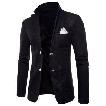 Lapel One Button Solid Color Blazer - BLACK XS