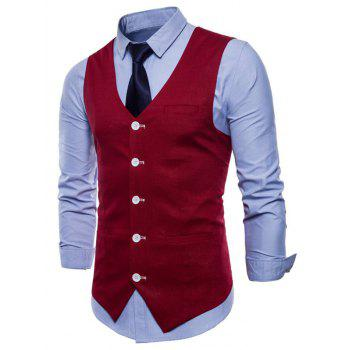 V Neck Single Breasted Casual Waistcoat - RED WINE S