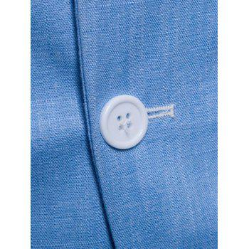 Lapel One Button Solid Color Blazer - SKY BLUE S