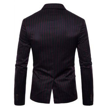 Stripe Edging Lapel Collar Blazer - JET BLACK L