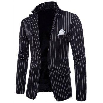 Stripe Edging Lapel Collar Blazer - BLACK XS