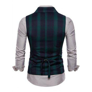 Check Double Breasted Edging Waistcoat - DEEP GREEN XS
