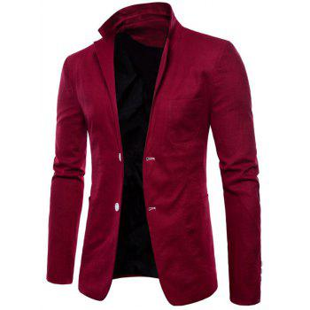 Lapel One Button Solid Color Blazer - RED WINE XS