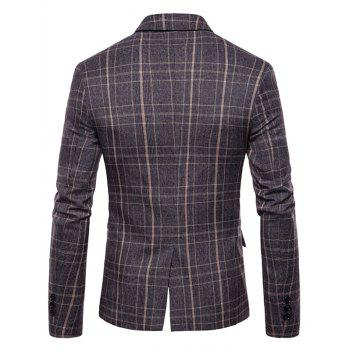 Plaid Edging One Button Blazer - COFFEE M