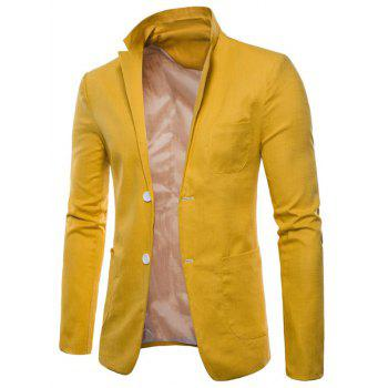 Lapel One Button Solid Color Blazer - YELLOW XS