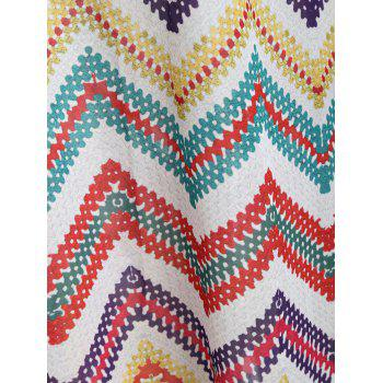 Asymmetrical Zigzag Scoop Neck Dress - multicolor XL