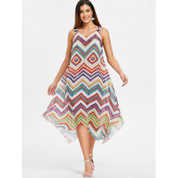 Asymmetrical Zigzag Scoop Neck Dress - multicolor 2XL