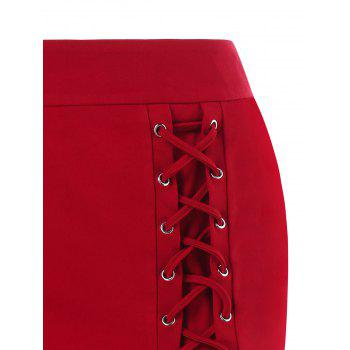 Lace-up Mini Skirt - RED M