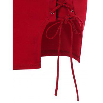 Lace-up Mini Skirt - RED XL