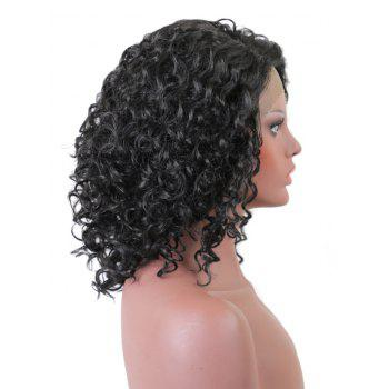 Short Side Bang Curly Synthetic Lace Front Wig - BLACK