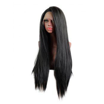 Free Part Straight Long Synthetic Lace Front Wig - BLACK