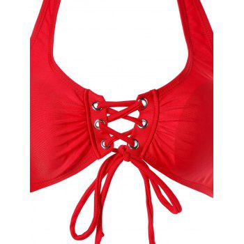 Halter Lace Up Bikini - RED 2XL