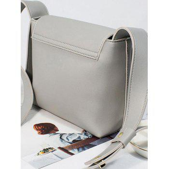 Casual Flap Whipstitch Solid Crossbody Bag - GRAY