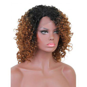 Short Side Bang Curly Colormix Synthetic Lace Front Wig - multicolor