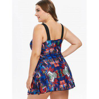 Plus Size Low Cut Abstract Print Swimsuit - COBALT BLUE 1X