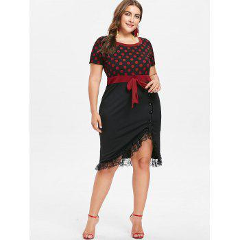 Plus Size Lace Trim Knee Length Fitted Dress - BLACK 1X