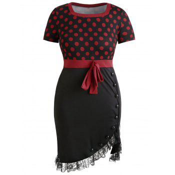Plus Size Lace Trim Knee Length Fitted Dress - BLACK 3X