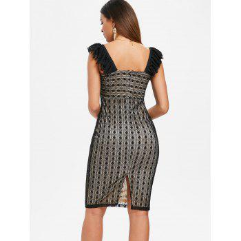 Open Back Lace Pencil Dress - BLACK L