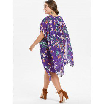 Plus Size Floral Asymmetrical Dress - PURPLE AMETHYST 3X