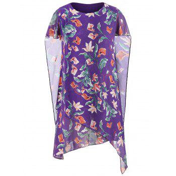 Plus Size Floral Asymmetrical Dress - PURPLE AMETHYST 4X