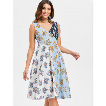 Double V Neck Cut Out Floral Dress - multicolor S