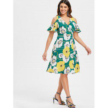 Open Shoulder Floral Surplice Dress - GREEN L