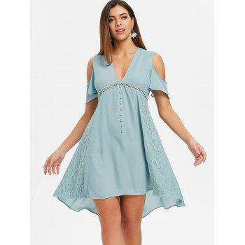 Cold Shoulder Lace Insert Flowy Dress - CYAN OPAQUE M