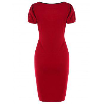 Cut Out Vintage Dress - RED XL