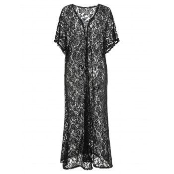 Plus Size Lace Open Front Cover Up - BLACK 2X