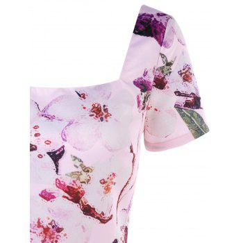 Floral Print Vintage Dress - LIGHT PINK 2XL