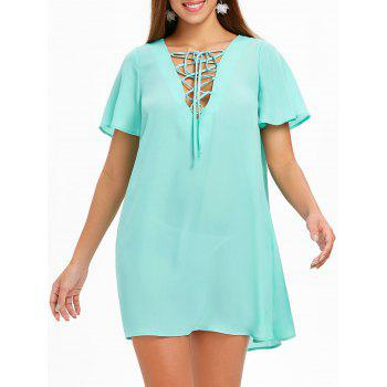 short-sleeve-lace-up-dress