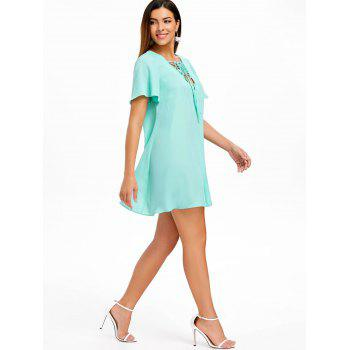Short Sleeve Lace Up Dress - MACAW BLUE GREEN L