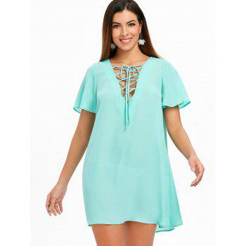 Short Sleeve Lace Up Dress - MACAW BLUE GREEN XL