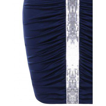 Sequins Insert Ruched Bodycon Dress - DEEP BLUE L