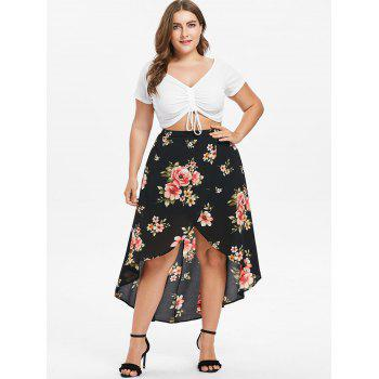 Plus Size Floral Overlap Flowing Skirt - BLACK 5X