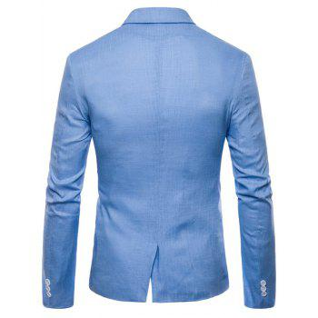 Lapel Single Breasted Solid Color Blazer - SKY BLUE L