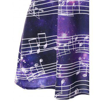 Musical Starry Sky Printed Casual Dress - multicolor XL